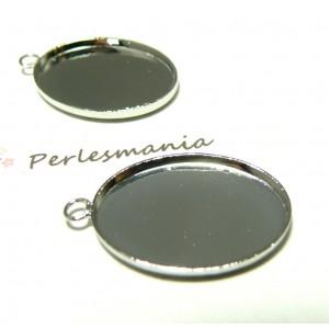 Apprêt 1 pendentif oval 18 par 25mm qualité PP