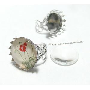2 pièces: 1 bague anneau coeur 20mm griffe PP et 1 cab