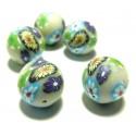 Apprêt 10 perles de fimo flower power ref P193Y en 18mm