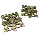 Apprêt bijoux 2 pièces multi connecteur carre ref2D2360 Bronze