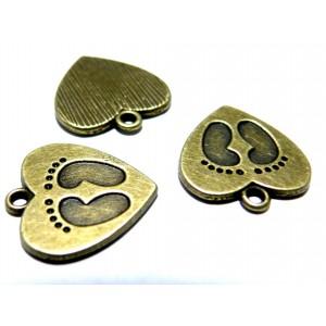 Apprêt bijoux 5 pendentifs ref 2Y4229 amour de petons Bronze