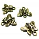 Apprêt bijoux 50 connecteurs papillon ref 2D1557 couleur Bronze