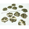10 breloques coeur 3 étoiles bronze ref 2D1639