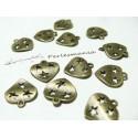 30 breloques coeur 3 étoiles bronze ref 2D1639
