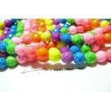 10 perles Turquoise Howlite mulitcolores fluo facetté 10mm ref