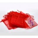 10 pochettes organza rouge  ( 70 par 90mm )