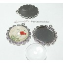 4 pièces: 2 Supports de pendentif PP fleur ref A18228  et 2 cab