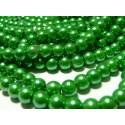 25 perles de verre nacre vert intense 8mm ref 2G3668