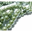 25 perles de verre nacre vert olive 8mm ref 2G3575