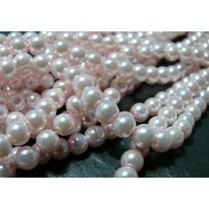 30 perles de verre nacre rose pale 6mm ref 2G5709