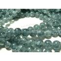 30 perles de verre craquelé ref 2G5914 duo gris bleu