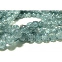 1 fil de150 perles de verre craquelé 2G5914 duo gris 6mm