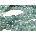 20 perles de verre craquelé 10mm ref 2G5912 duo gris