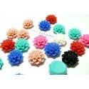 10 cabochons Résine ref 772Y Fleur mulit color 15x15x8mm