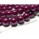 20 perles de verre nacre violet pourpre 10mm ref HY64