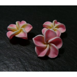 2 fleurs cabochons fimo rose 21mm ref 2G3415