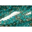 50 perles de cristal craquelé bicolore 8mm bleu gris ref