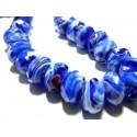 Apprêt 2 magnifiques rondelles verre facetté 2J2805 Bleu nuit
