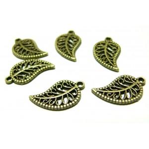 Apprêt bijoux 15 pendentifs feuille ajourée 2Y2820 Bronze