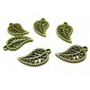 Apprêt bijoux 100 pendentifs feuille ajourée 2Y2820 Bronze