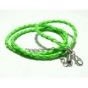 Apprêt bijoux 2 Colliers tressés cuir vert 2L4507