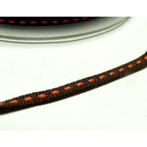 3 m ruban surpiqué marron et orange 5mm ref 4599 collection 64