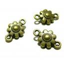 Apprêt bijoux 4 connecteurs fleurs 3D ref 95 4BO Bronze