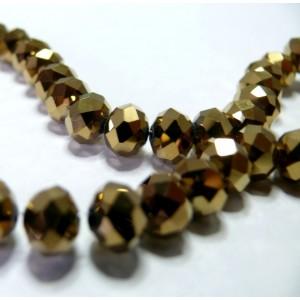 1 fil environ 70 perles facettées rondelles bronze doré 6 par 8mm ref 2J1114