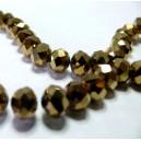 1 fil environ 100 perles facettées rondelles bronze doré 3 par 4mm ref 2J1115