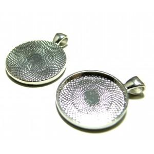 Apprêt bijoux 1 Support de pendentif rond 25mm argent platine qualité extra