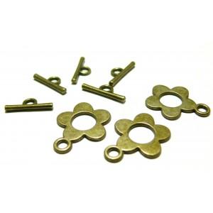 Apprêt bijoux 10 sets 2Y1109 fermoirs fleurs bronze