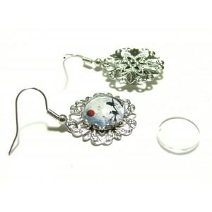 4 pièces: 2 Boucles d'oreille retro fleur argent platine ref 26745 et 2 cab