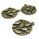 Apprêt bijoux 30 pendentifs belles feuilles 2Y8611 Bronze