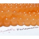 10 perles  jade teintée couleur orange pastel 4mm