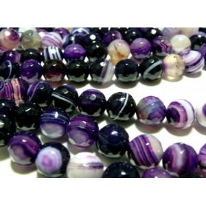 2 perles Agate du brésil facettée violet 8mm