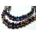 10 perles de cristal facetté multicolore ronde 8 par 10mm 2J1609