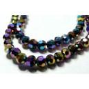 1 fil de 100 rondelles de cristal facetté multicolore ronde 4 par 6mm 2J1613