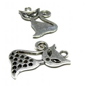 Apprêt bijoux 4 pendentifs chat 2A1644 viel argent