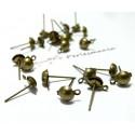 100 Boucles d'oreille clou avec attache BR en 4mm