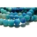 Apprêt bijoux 10 perles 8mm Agate craquelé effet givre bleu intense