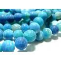 Apprêt bijoux 10 perles Agate 10mm craquelé effet givre bleu intense