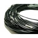 Apprêt bijoux 1 collier cordon caoutchouc noir brillant 2,5mm