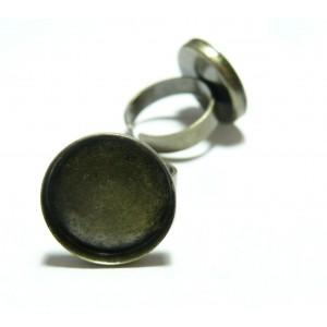 Apprêt bijoux 1 pièce Support de Bague Bronze 20 mm bord épais