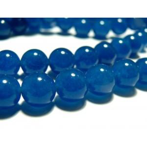 Apprêt bijoux 10 perles 6mm jade teintée couleur bleu lagon
