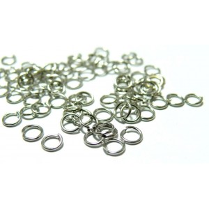 200 anneaux de jonction 6 mm par 1 mm argent platine