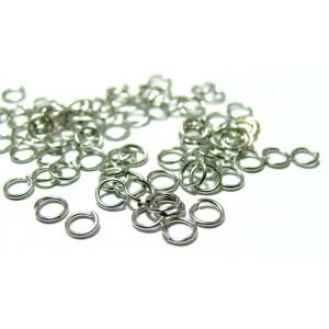 1000 anneaux de jonction 5 mm par 0.7 mm argent platine