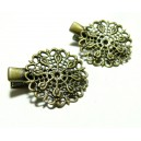 Apprêt bijoux 10 barrettes pince  fleur dentelle  BR  ref 2M3131