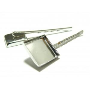 Perles et apprêts 10 Supports de barrette carré PP 16mm bord épais