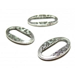 Apprêt bijoux 10 pendentifs anneau connecteur ovales 2W5114 Vieil argent