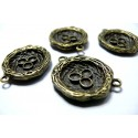 Apprêt bijoux 1 breloque pendentif bronze NID et oeufs